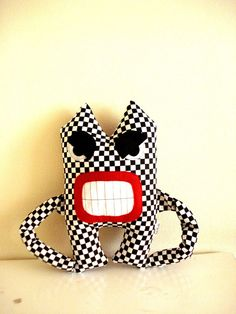 Angry Monster Black and White Plaid by cronopia6 on Etsy, $26.00
