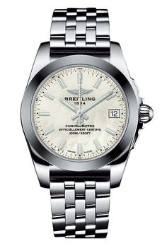 The @breitling Galactic 36 SleekT with mother-of-pearl dial - this ladies watch…