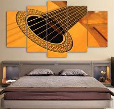 Classical Guitar 5 Piece Canvas Painting