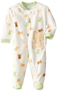 Rene Rofe Baby Newborn Boys Teddy Bear Zip Front Footed Micro Fleece Coverall Multi 03 Months -- See this great product. (This is an affiliate link) #BabyBoyFootiesandRompers