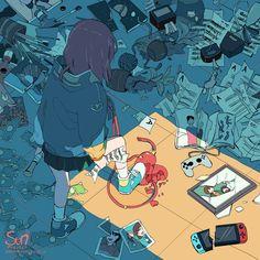 Dark Art Illustrations, Illustration Art, Sun Projects, Anime Crying, Sad Drawings, Vent Art, Sad Anime Girl, Arte Obscura, Sad Pictures