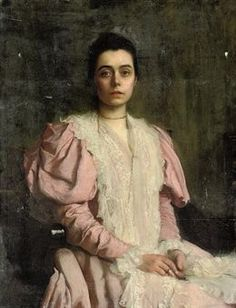 GEORGE SPENCER WATSON - Portrait of a young lady, three-quarter-length, in a pink dress with a lace collar