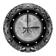Wall Clock Drawing floral abstract  http://www.zazzle.com/wall_clock_drawing_floral_abstract-256380566040475283