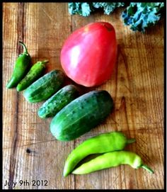 Sosnicki's July treasures! The first ripe oxheart tomato, a few cucs and a jalapeño and hot banana peppers!!