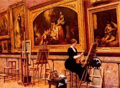 """""""Pintora copiando un Murillo en el Museo del Louvre"""". Obra de Louis Béroud (1852-1930).  """"Pintora copiando un Murillo en el Museo del Louvre"""". Work by Louis Béroud (1852-1930)."""