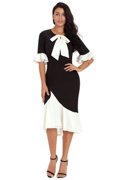 c65fa2ff1fb Vintage Pussy Bow Flounce Accent Black Dress Robes Vintage
