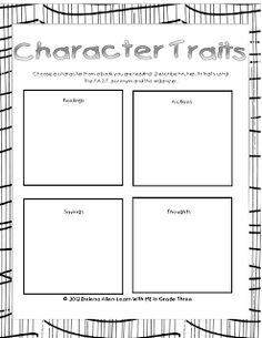 Character Traits - F.A.S.T. = Feelings, Actions, Sayings, Thoughts