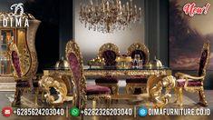 Luxury Classic Meja Makan Mewah Golden Relief Best Product Jepara BT-0818