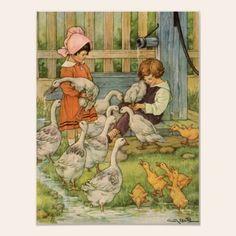 Geese  vintage print.