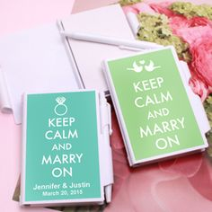 Keep Calm ....and enjoy these charming personalized notebook favors. Guaranteed to be a useful and unique memento of your special day.