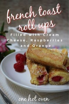 Try this fun twist on a classic with this Orange Raspberry French Toast Roll-Ups recipe. These cream cheese stuffed roll-ups are perfect for breakfast, brunch, and an anytime snack. Simple, delicious and impressive Egg Recipes For Breakfast, Breakfast Toast, Sweet Breakfast, Brunch Recipes, Breakfast Ideas, Sunday Breakfast, Vegetarian Breakfast, Brunch Ideas, Fruit Recipes