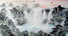 Cornucopia Big Waterfall Mountain Landscape Abstract art Chinese Ink Brush Painting, 180*96cm Chinese wall scroll painting Rising Sun Freehand brush work Feng shui paintings Artist original works of handwriting Rice paper Traditional art painting. USD $ 281.00