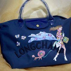 Commissioned artwork on longchamp bag for Dinah. #handpaintedbag #bag #longchamp #custom #personalized #ncatigbemd #paintedbag