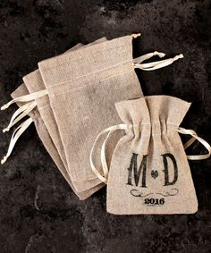 Mini Linen Drawstring Pouch - Plain You can fill with candy or personalized m's!