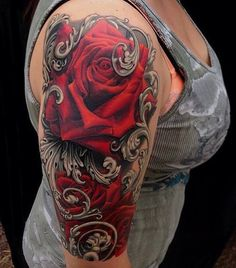 red and black #ink #tattoo #roses