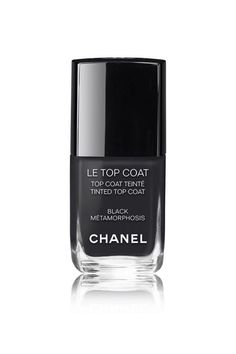 A subtle and tinted black is a fresh alternative to a more harsh opaque black. Try it in Chanel Le Top Coat in Black Metamorphosis.