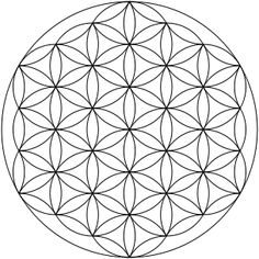 """Small, clear image of the most common form of the """"Flower of Life"""" hexagonal pattern (where the center of each circle is on the circumference of six surrounding circles of the same diameter), made up of 19 complete circles and 36 partial circular arcs, enclosed by a large circle."""