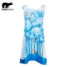 European Design Ladies Chiffon Kawaii Blue Forest Print Above Knee Casual Club Dresses For Women Vestidos Mujer WAIBO BEAR