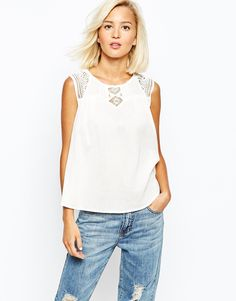 Image 1 ofVero Moda Cheesecloth Top With Lace Inserts