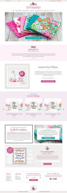 E-commerce website built on Woocommerce for Sew Blossom a fabric and lifestyle brand! Gorgeous custom boutique touches and customized functions and features.