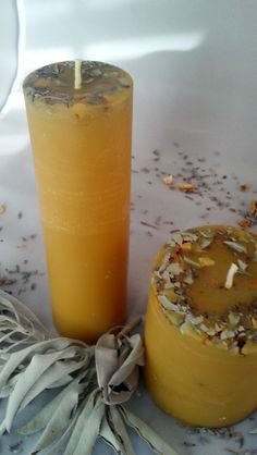 """Think Smudge Stick Candle! Cleanse your atmosphere with this fragrant white sage, sweet orange & Lavender pure beeswax pillar. 2x6.5"""""""