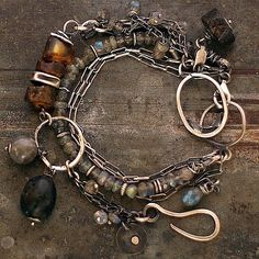 set • two bracelets  •  Baltic amber and labradorite • sterling silver • link bracelets • chain • by ewalompe on Etsy https://www.etsy.com/listing/218339078/set-two-bracelets-baltic-amber-and