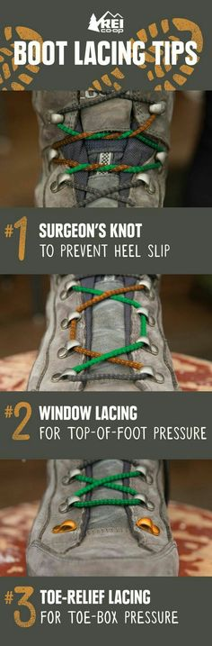 Increase comfort on the trail by learning simple boot lacing techniques that help you deal with heel slipping, pressure points and toe pain. Most of us master shoe-tying in elementary school and don't give our laces much thought after that. If your hiking boots start to wear on your feet in uncomfortable ways, though, you'll be glad to learn a few new lacing tricks that could help improve your comfort! #hiking #hikingtips