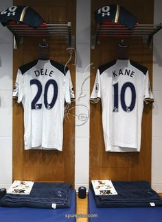 LONDON, ENGLAND - NOVEMBER 19: The shirts of Harry Kane and Dele Alli await the players in the dressing room prior to the Premier League match between Tottenham Hotspur and West Ham United at White Hart Lane on November 19, 2016 in London, England