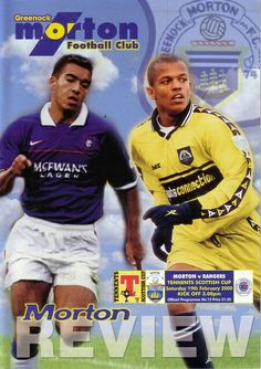 Morton 0 Rangers 1 in Feb 2000 at Cappielow. Programme cover for the Scottish Cup 4th Round tie.
