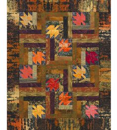 Fall Leaves Quilt -Low-contrast, neutral-tone frames make each leaf in this quilt stand out, creating the appearance of falling autumn leaves