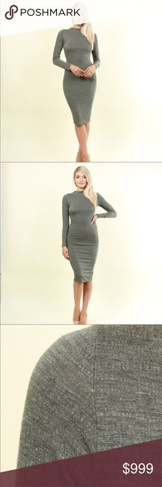 🎀AVAILABLE 🎀 Miki Midi Seersucker Knit Dress Dusty Olive Solid Seersucker Textured Light Weight Knit Bodycon Long Sleeve Dress With Lining. Super Cute and Trendy!!  70% Polyester, 28% Rayon, 2% Spandex.  Lining 95% Rayon, 5% Spandex Hot & Delicious Dresses Midi