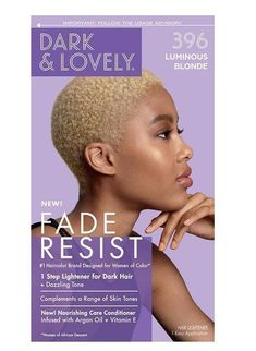 NAME : SoftSheen Carson Dark and Lovely Fade Resist Rich Conditioning Color, 396 Luminous Blonde DESCRIPTION : Fade-Resistant Rich Conditioning Color is an innovative formula that delivers vibrant, fade-resistant color and shine. This formula contains Dark and Lovely's exclusive Moisture Seal technology for double the conditioning power - especially designed to help protect relaxed and natural hair while coloring. The result is silky, shiny hair and luxurious, rich color. Fade-resistant Rich con How To Dye Hair At Home, How To Lighten Hair, Protective Styles For Natural Hair Short, Natural Hair Styles, Tapered Natural Hairstyles, Vitamin E Hair, Blonde Twa, Blonde Hair, Afro