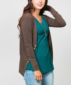 87a487cf36 Loving this Sawyer Cove Brown Snap-Button Cardigan - Women on  zulily!