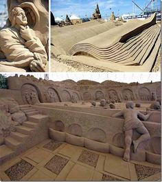 It's cold and snowy in many places throughout the world. So let's think warm thoughts like warm summer sand and sandcastles. In fact, think hot. Snow Sculptures, Sculpture Art, Dantes Inferno, Castle In The Sky, Sand Art, Outdoor Art, 14th Century, Earth