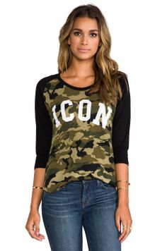 Lovers + Friends for REVOLVE Icon Baseball Tee in Camo/ Black from REVOLVEclothing