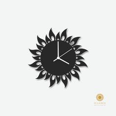 Sun Fire Flame modern wall clock Modern Laser Cut Wall by Osaree