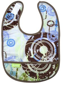 modern-kids.com waterproof taffeta bib - blue circles.