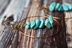 Rough Stone Turquoise Howlite Gold Hoop Earrings by Phenomenal Women $18
