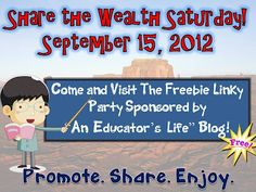 An Educator's Life: Share the Wealth Saturday- September 15, 2012