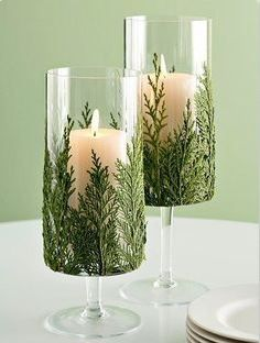 Add some LED candles with fresh greenery sprigs in vases or other glass containers to bring some of the outdoors inside. I especially like the texture than the cedars provide for this. The flat and lacy texture is a perfect fit alongside the candles.