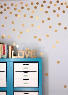 24 Gold polka dot wall decal by JKVDesigns on Etsy