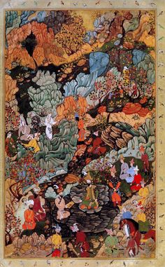 Allegory of the Celebrations for Akbar's Circumcision at Khwaja Seh Yaran Mughal at Kabul, c. 1546 AD Attributed to Dust Muhammad From the Jahangir Album Islamic Paintings, Indian Paintings, Anime Comics, Middle Eastern Art, Iranian Art, Islamic Art, Chinese Art, Traditional Art, Art Inspo