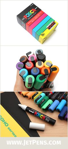 Uni Posca paint markers use vivid, opaque ink that can write on virtually any surface, including paper, photos, glass, wood, plastic, and metal!
