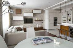 Különlegesen berendezett kis lakás szép anyagokkal, szokatlan formákkal Small Apartments, Sweet Home, House Design, Interior Design, Luxury, Bed, Table, Furniture, Home Decor