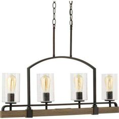 Newbury Manor Collection 4-Light Vintage Bronze Linear Chandelier with Clear Seeded Glass Shades