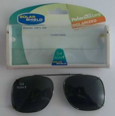 FOSTER GRANT BLACK CLIP-ON SUNGLASSES W/CASE 54 SQ 1 #FosterGrant