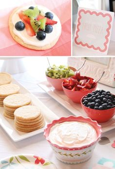 Fruit pizza bar! This would be cute idea for a baby shower.