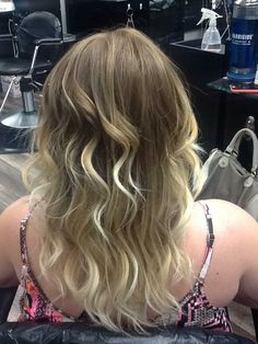 Blonde ombre on medium length, flat iron curled