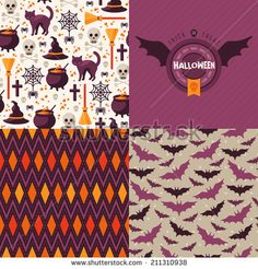 Seamless patterns of Halloween symbols and label. Use to create quilting patches or seamless backgrounds for various craft projects. - stock vector