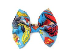 Fabric Bow Comic Book Bows Marvel super hero hair clip Nerdy Bow Large Bowtie Girly Super hero bows  Blue bow DC wonder women teen gear Marvel Clothes, Best Superhero, Diy Hair Bows, Fabric Bows, Blue Bow, Big Bows, Geek Chic, Outfits For Teens, Marvel Fashion